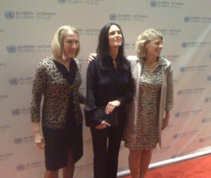 Carolyn Miles with Save the Children's Board Chair Anne Mulcahy and Actress Jennifer Connelly on the red carpet for Every Woman, Every Child