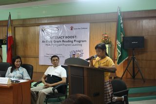 PHCO Rhea delivering her speech at the MOA Signing between SC LVPO and DepEd Caloocan 2.6.2013