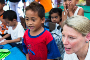 I met with amazing students at an elementary school in Tacloban, which suffered extensive damage during Typhoon Haiyan. Classes are now conducted in tents adorned with the children's artwork. Photo credit: David Wardell for Save the Children