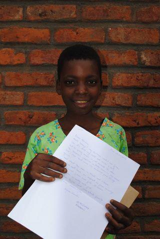 Malawi Zomba, Misozi Sikula with her letter 2