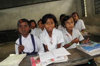 Grade two children in primary school on Launiya village