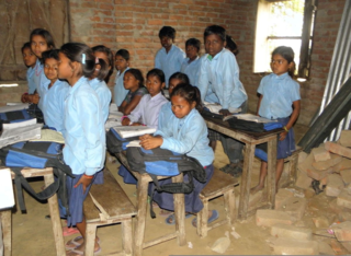 Grade four children in school of Ko Madhepura village