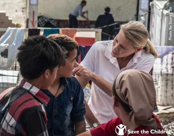 2015 Instagram Post 10-28-15:  On a recent visit to #Lesbos, Greece, our CEO Carolyn Miles met with child refugees who arrived via the Mediterranean Sea.   Hear from Carolyn about her response to the #refugeecrisis at facebook.com/savethechildren.