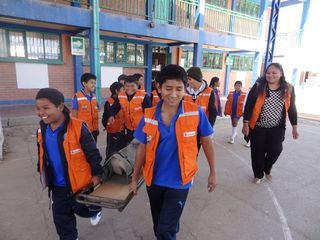 Carolay and her Emergency Brigade students during an emergency drill at school