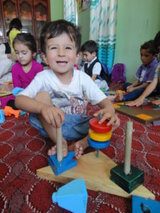 3 year old Turaan Big loves to learn with blocks