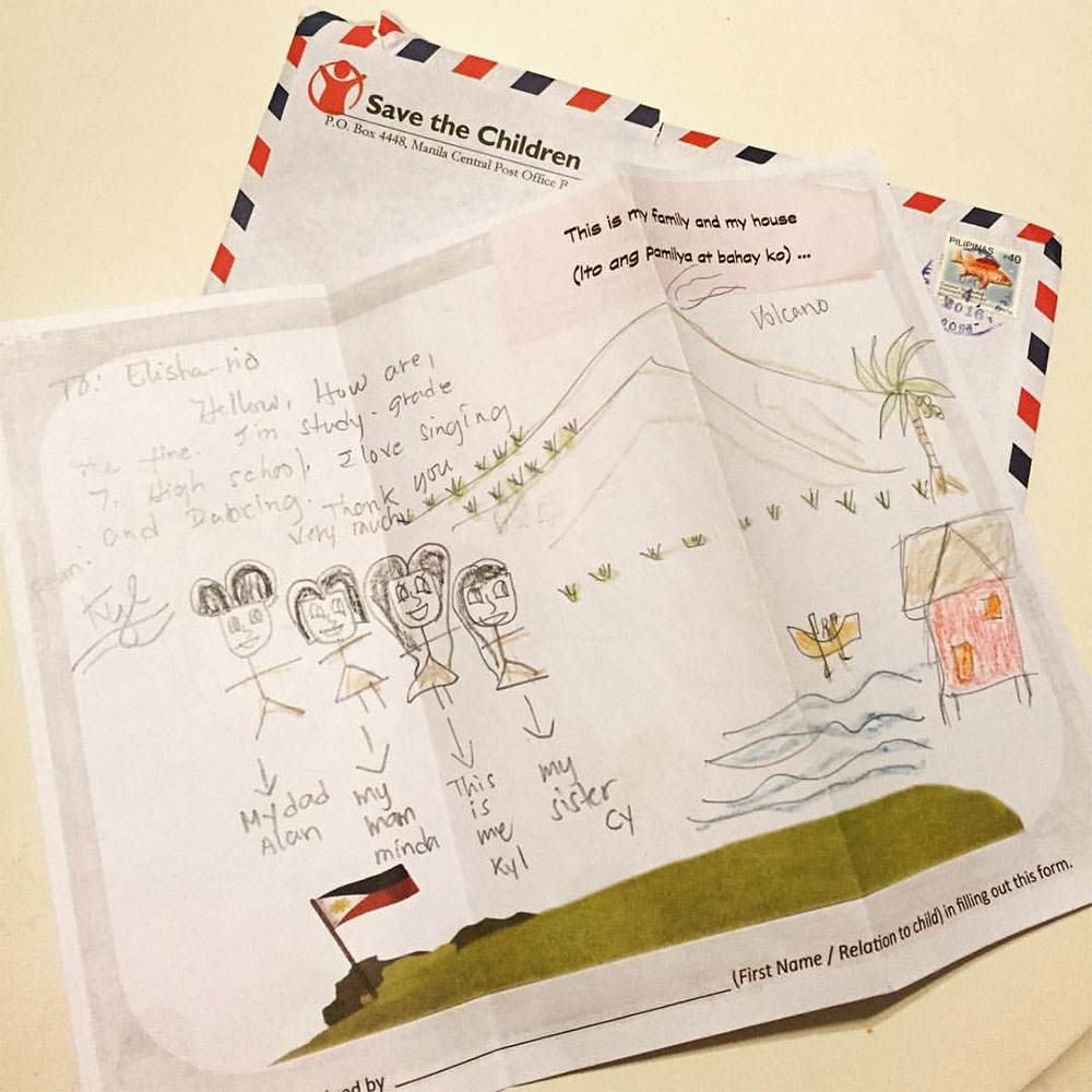 A drawing + letter from my sponsored child, Kyl