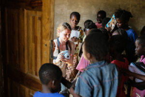 Stepping into a classroom in Lufwanyama, Zambia.