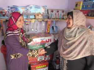 Amal visiting a participant of Arab Women Speak Out in her shop