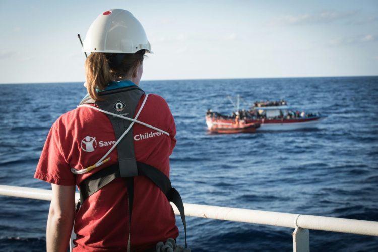Search and Rescue's Team Leader, Gillian, assists in the rescue of over 300 refugees and migrants from an overloaded boat in distress.