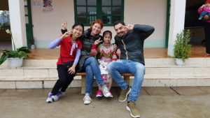 Sponsorship staff member Nga, Linh and her sponsors, Federica and Manolo
