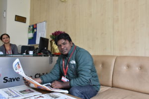 Guru Sharan ji relaxing at the Save the Children country office in Kathmandu, Nepal